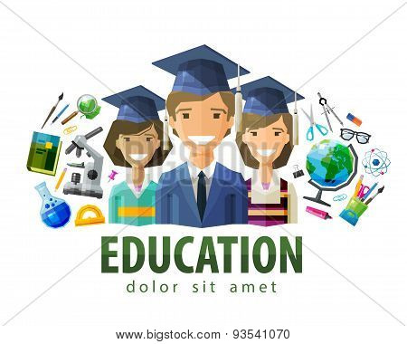 education, schooling vector logo design template. students, graduates or school, college, university