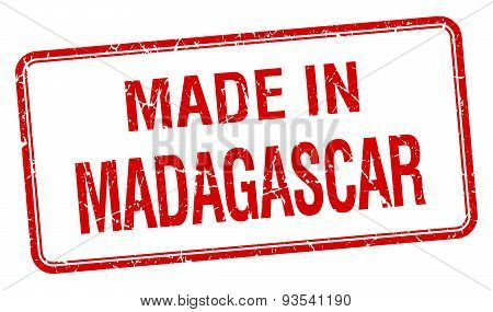 Made In Madagascar Red Square Isolated Stamp