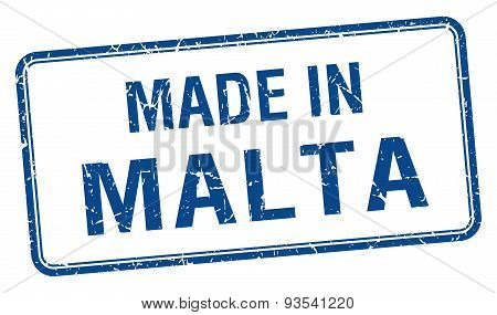 Made In Malta Blue Square Isolated Stamp
