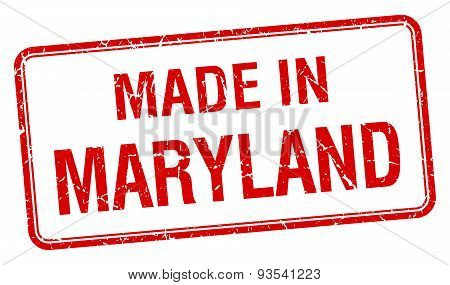 Made In Maryland Red Square Isolated Stamp