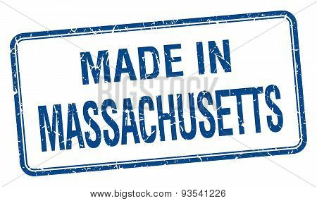 Made In Massachusetts Blue Square Isolated Stamp