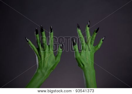 Green monster hands with sharp black nails, Halloween theme, studio shot on black background