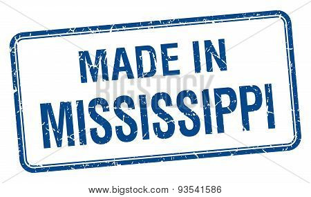 Made In Mississippi Blue Square Isolated Stamp