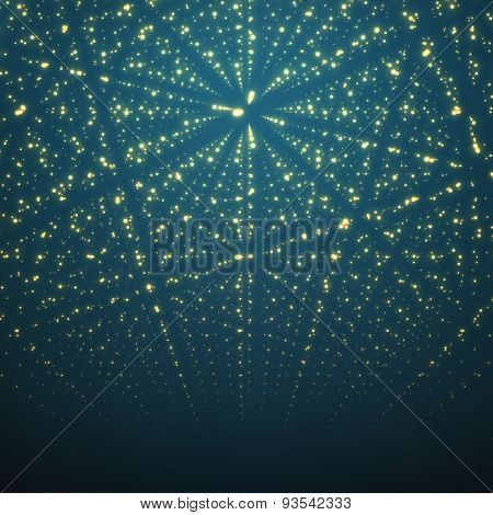 Abstract vector background. Matrix of glowing stars with illusion of depth and perspective.