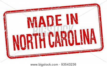 Made In North Carolina Red Square Isolated Stamp