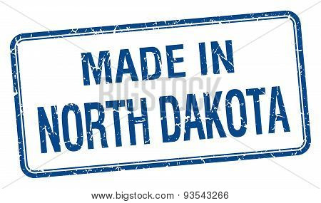 Made In North Dakota Blue Square Isolated Stamp
