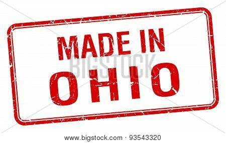 Made In Ohio Red Square Isolated Stamp