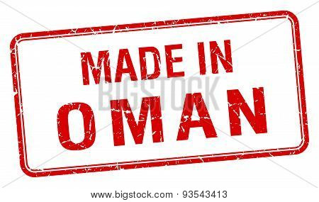 Made In Oman Red Square Isolated Stamp