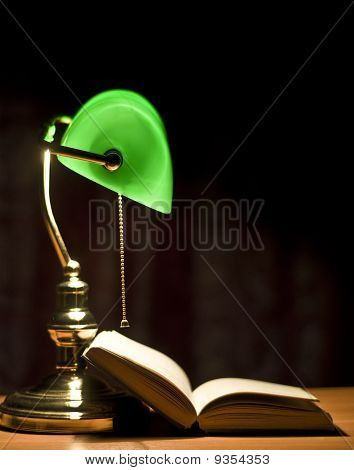 Electric Green Table Lamp And Book