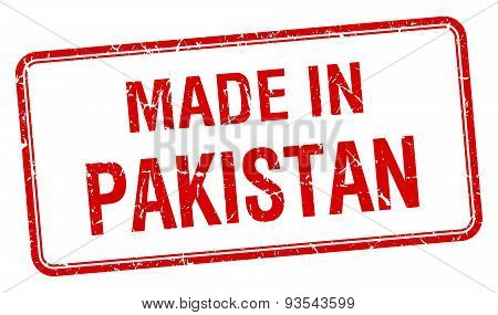 Made In Pakistan Red Square Isolated Stamp