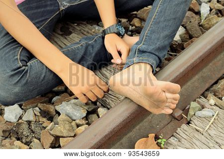 Bare Feet On The Railway