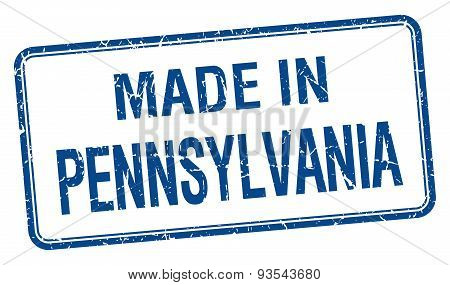 Made In Pennsylvania Blue Square Isolated Stamp