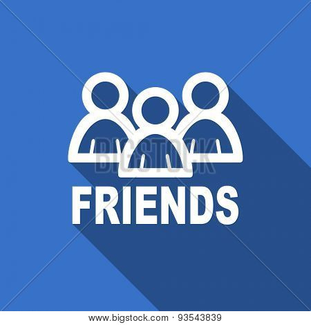 friends modern flat icon with long shadow