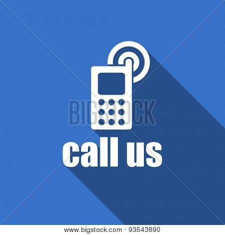 call us modern flat icon with long shadow phone sign