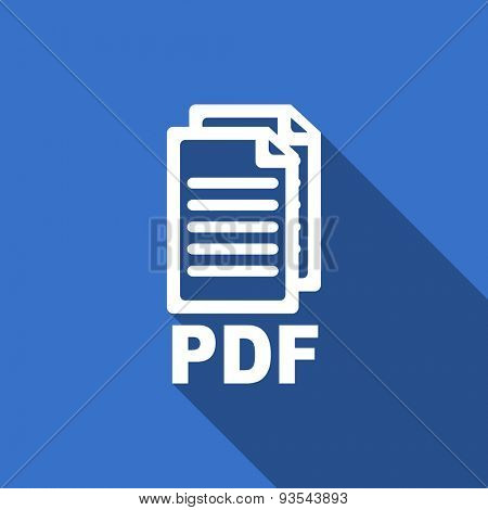 pdf modern flat icon with long shadow pdf file sign