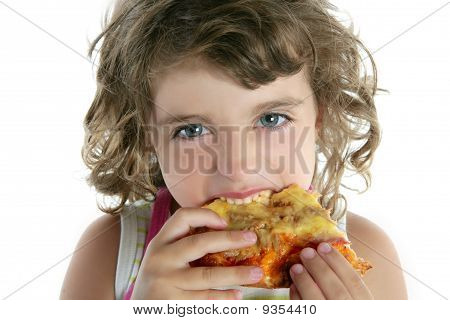 Niña comiendo Pizza hambre Closeup retrato