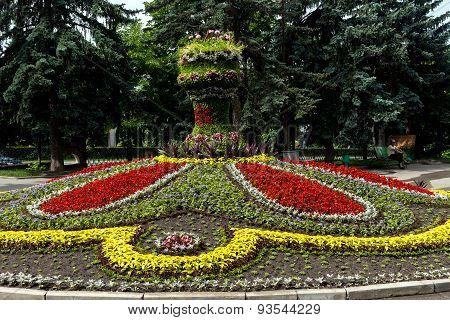 Beautiful Flowerbed Calendar In Pyatigorsk.