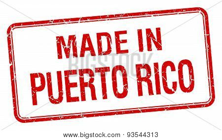 Made In Puerto Rico Red Square Isolated Stamp