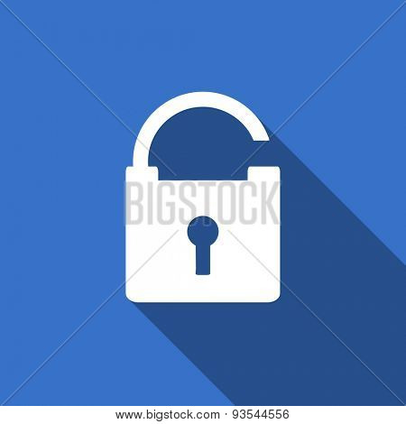 padlock modern flat icon with long shadow secure sign