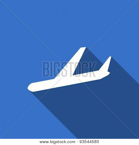 arrivals modern flat icon with long shadow plane sign