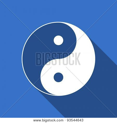 ying yang modern flat icon with long shadow