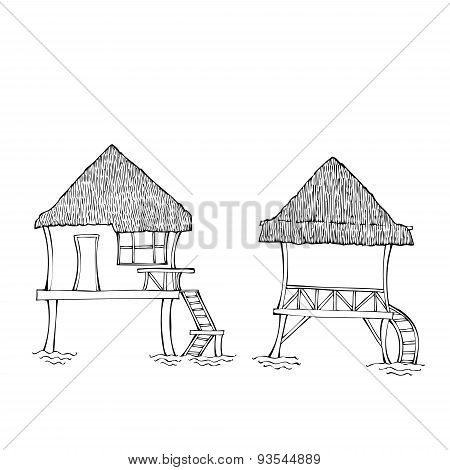 Southern huts.Sketches