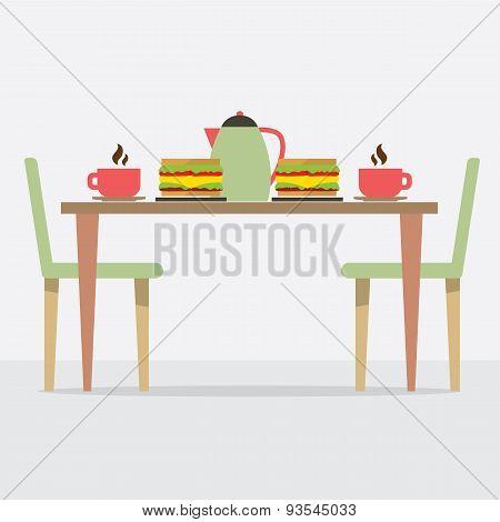Flat Design Breakfast On Table.