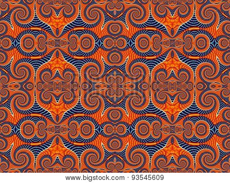 Symmetrical Pattern From Spiral Fractal. Blue And Orange Palette. Computer Generated Graphics.