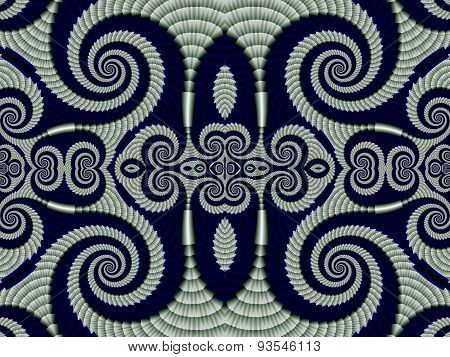 Symmetrical Pattern From Spiral Fractal. Gray And Blue Palette. Computer Generated Graphics.
