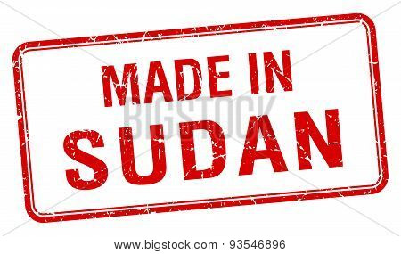 Made In Sudan Red Square Isolated Stamp