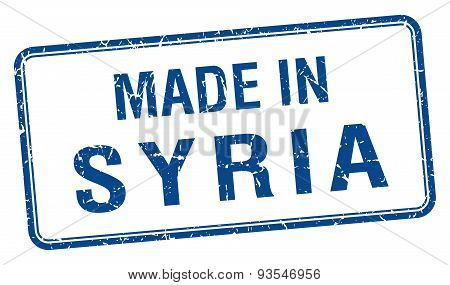 Made In Syria Blue Square Isolated Stamp