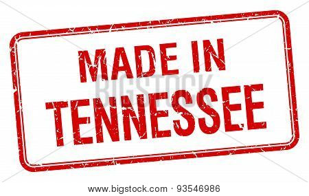 Made In Tennessee Red Square Isolated Stamp