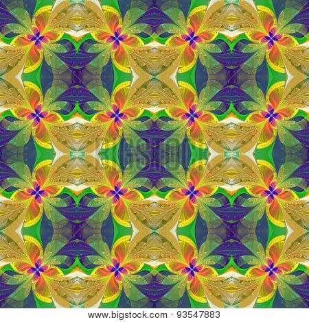 Multicolored Symmetrical Pattern In Stained-glass Window Style. Computer  Graphics.