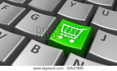 Keyboard Green Shop Cart Key