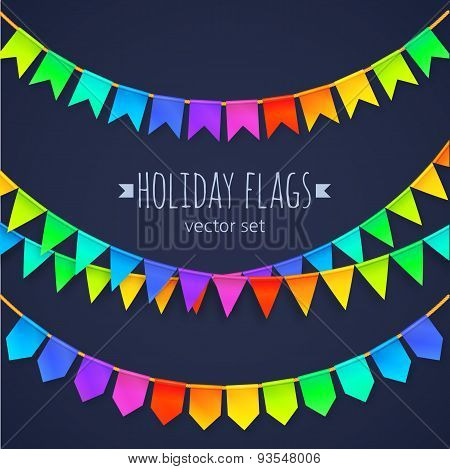 Vivid colors rainbow flags garlands set isolated on dark background