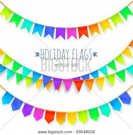 Vivid colors rainbow flags garlands set isolated on white background