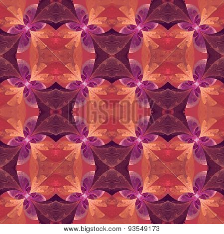 Beautiful Symmetrical Pattern In Stained-glass Window Style. Pink And Purple.