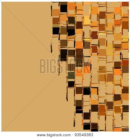 Abstract Fragmented Backdrop Pattern In Orange Beige