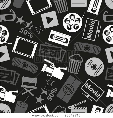 Movie And Cinema Vector Icons Seamless Dark Pattern Eps10