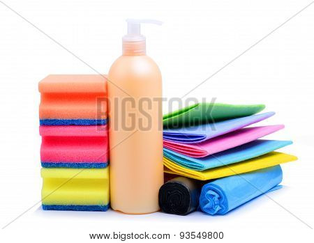 Cleaning Supplies, Paper Napkins, Gel And Trash Bags