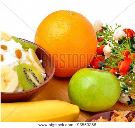 Healthy Eating. Fresh Fruit And Dry Loaves With Curd