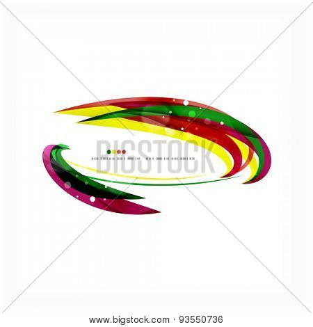 Rainbow bright light air lines background, green and yellow colors