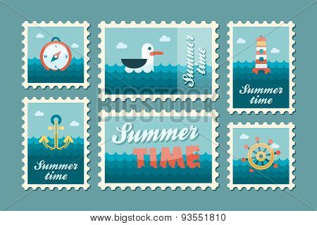 Summertime Marine Stamp Set Flat