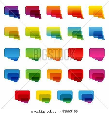 Rainbow colorful transparent rounded rectangle chat bubbles set
