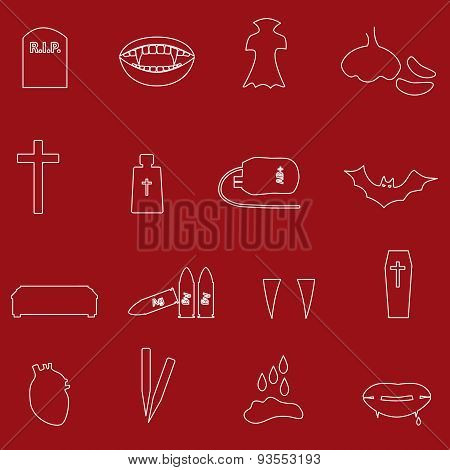 Red And White Outline Vampire Icons Eps10