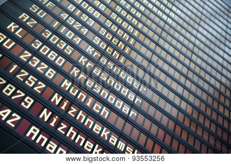 Flights information board in airport with copyspace
