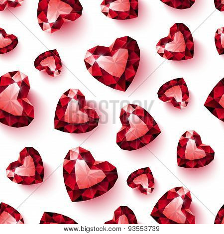 Shiny red ruby heart on white background seamless pattern