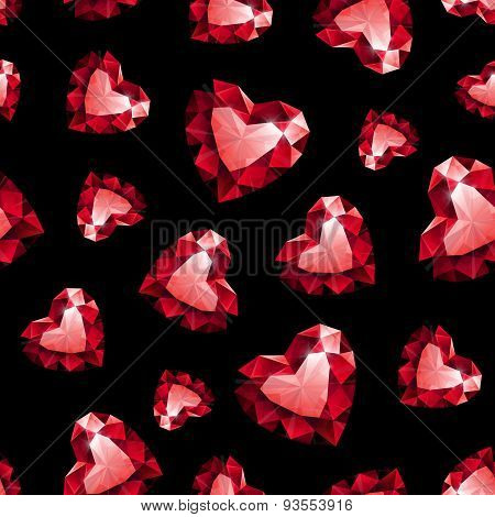 Shiny red ruby heart on black background seamless pattern