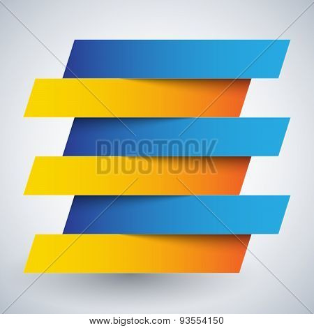Infographics blue and orange paper rectangle banners with shadow