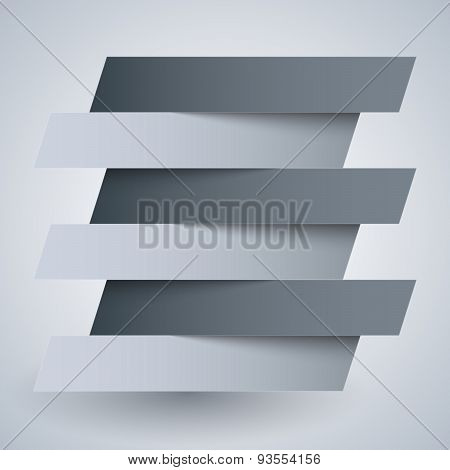 Infographics white and grey paper rectangle banners with shadows